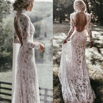 Vintage Lace High Neck Mermaid Wedding Dress Long Sleeves Sexy