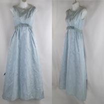 1960s Ice Blue Damask Formal Gown Bridesmaid Dress