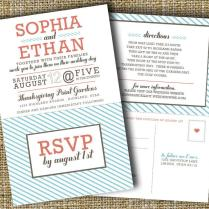 Modern Wedding Invitation With Perforated Rsvp Card