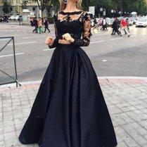 Ball Gown Long Sleeves Bateau Satin Floor