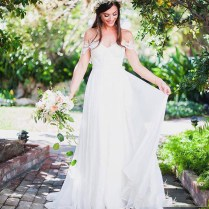 Rustic Country Style Wedding Dress Simple Sweet Bridal Dress Long