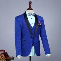 Men Slim Casual Navy Blue Groom Married Wedding Suits Set
