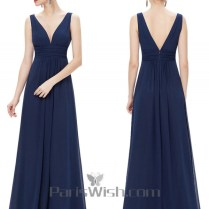 V Neck Crinkle Cheap Long Bridesmaid Dresses Under 100 Navy