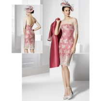 Fuchsia Knee Length Lace Mother Of The Bride Dresses With Jacket