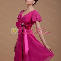 Fuchsia Mother Of The Bride Dress With Bowknot Short Sleeves Knee