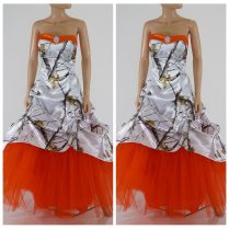 New Orange Skirt White Camo Wedding Dresses Lace Up Back