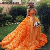 Orange Ball Gown Wedding Dresses 2017 With Cout Train Off The