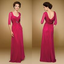 2016 Fuchsia Mother Bride Dress Chiffon Half Sleeves Mother Of The