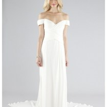 Sexy Sheath Sweetheart Off The Shoulder Chiffon Wedding Dress With