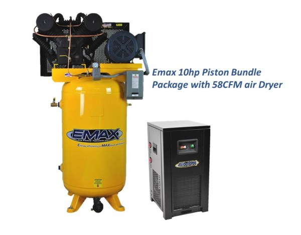 Emax 10hp 80 gal 2 stage 3 Phase Compressor with Air Dryer Bundle