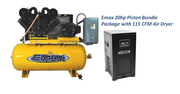 Emax 20Hp 120 Gal 2 Stage 3 Phase Compressor with Air Dryer Bundle