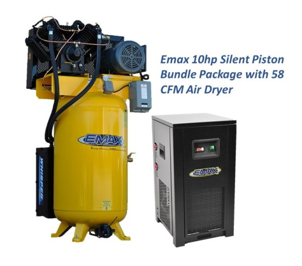 Emax 10hp 1ph Silent Air Piston Bundle with 58 CFM Air Dryer