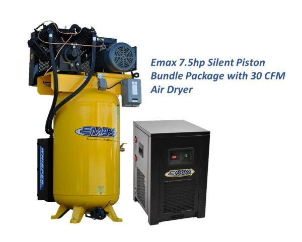 Emax 7.5hp 1ph Silent Air Piston Bundle with 30CFM Air Dryer