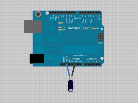 Sistema Web com Raspberry Pi: Arduino schematic + capacitor