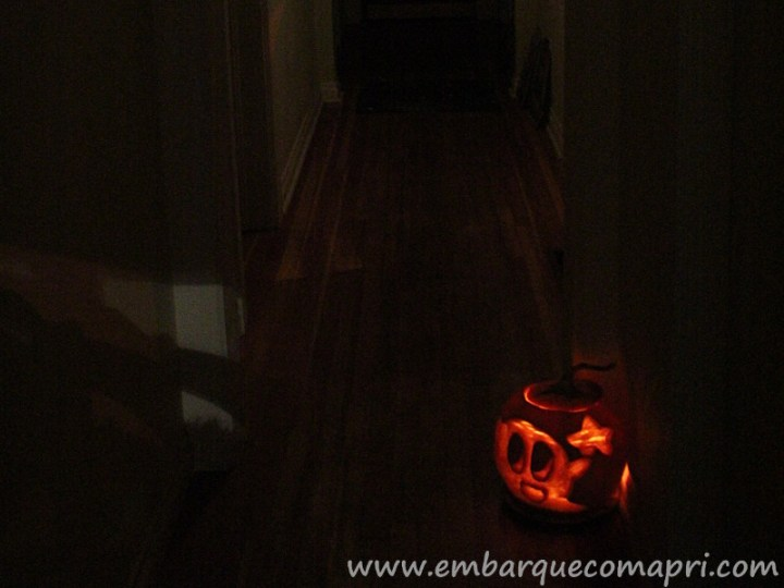 Abobora iluminada para o Halloween