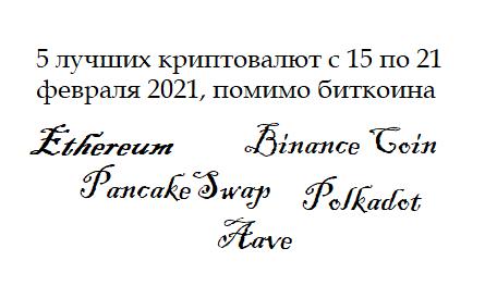 Название статьи - 5 лучших криптовалют с 15 по 21 февраля 2021г