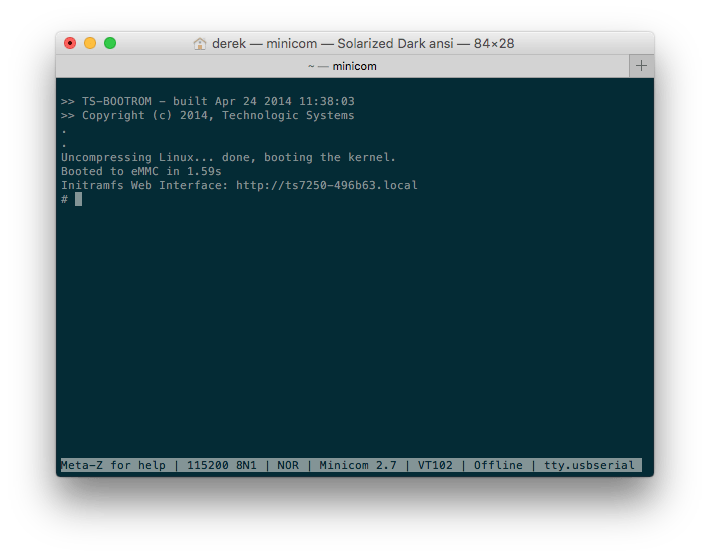 Screenshot of TS-7250-V2 Busybox Shell via Console
