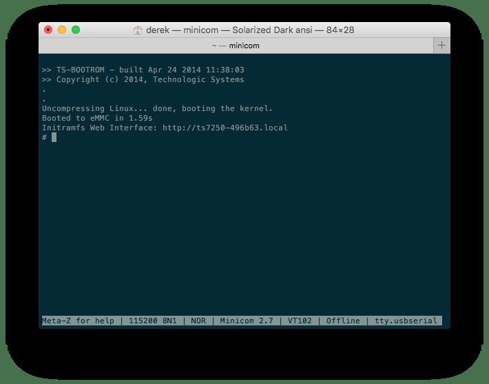Screenshot of TS-7250-V2 Busybox Shell via Console