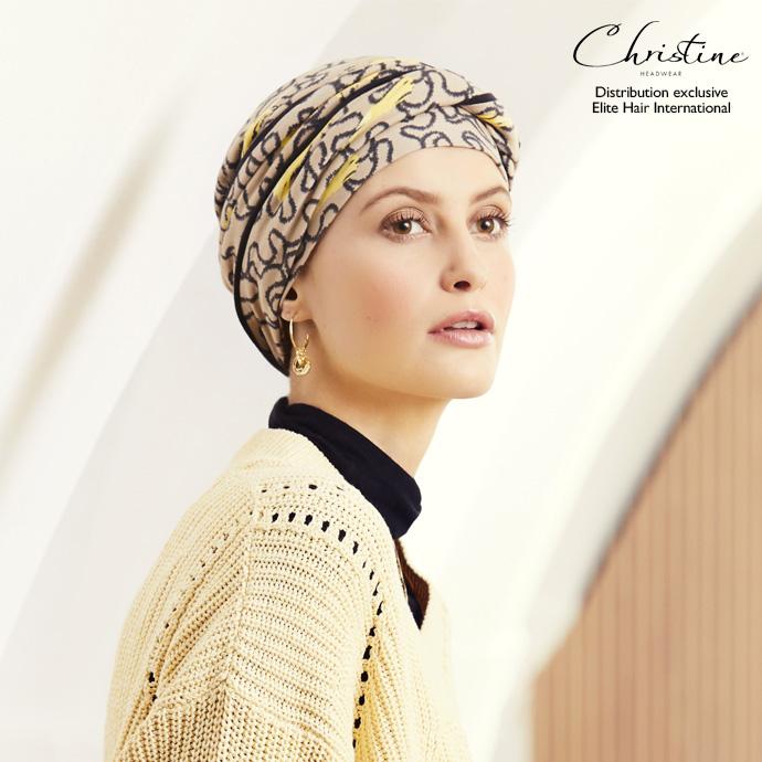 Bonnet chimiothérapie à motifs beige et jaune