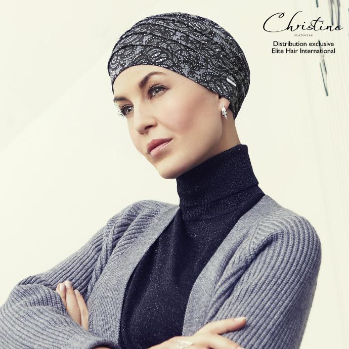 Turban bonnet noir à motif