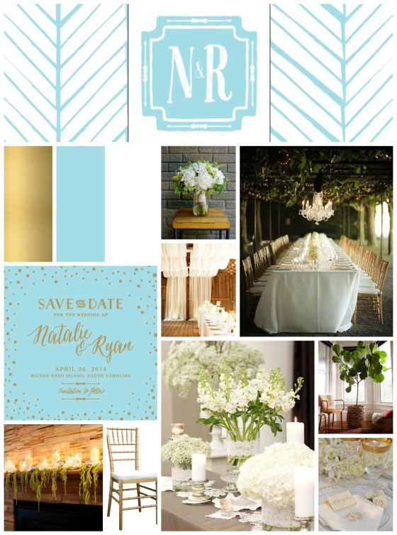 Tiffany Blue Gold White Wedding Mood Board