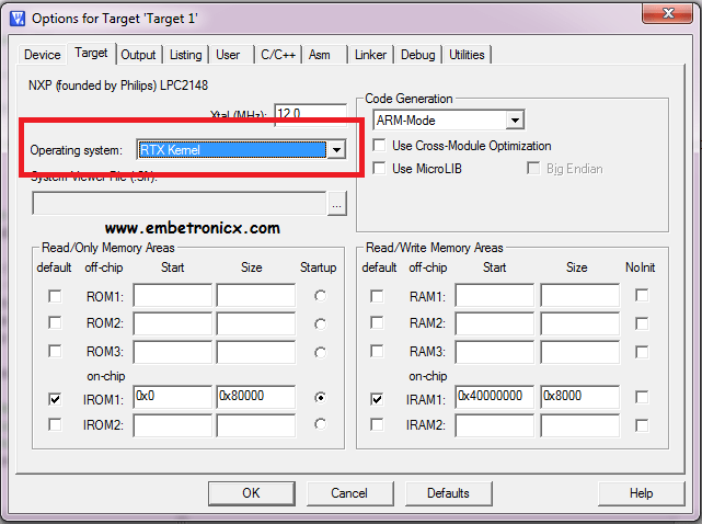 rtx LPC2148 - RTX RTOS Porting with Keil IDE