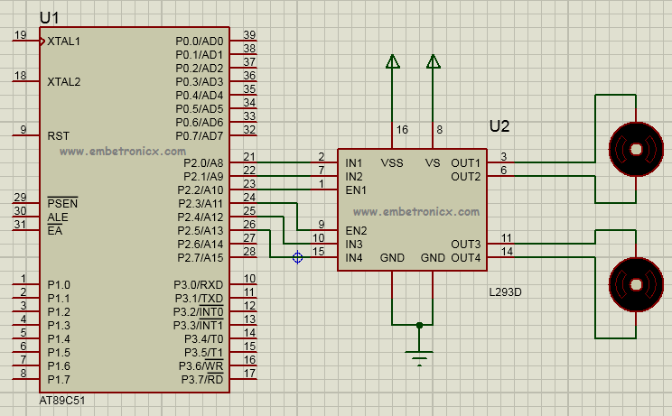 DC Motor Interfacing with 8051 Using L293D | EmbeTronicX