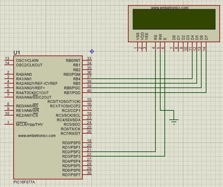 lcd-4bit-pic16f877a-circuit PIC16F877A - LCD 4Bit Interfacing