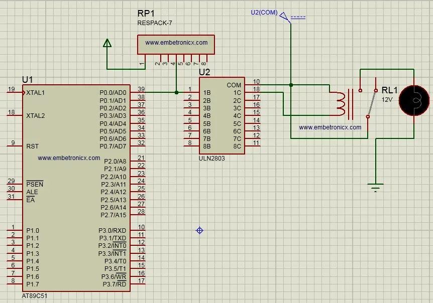relay interfacing with 8051 circuit diagram