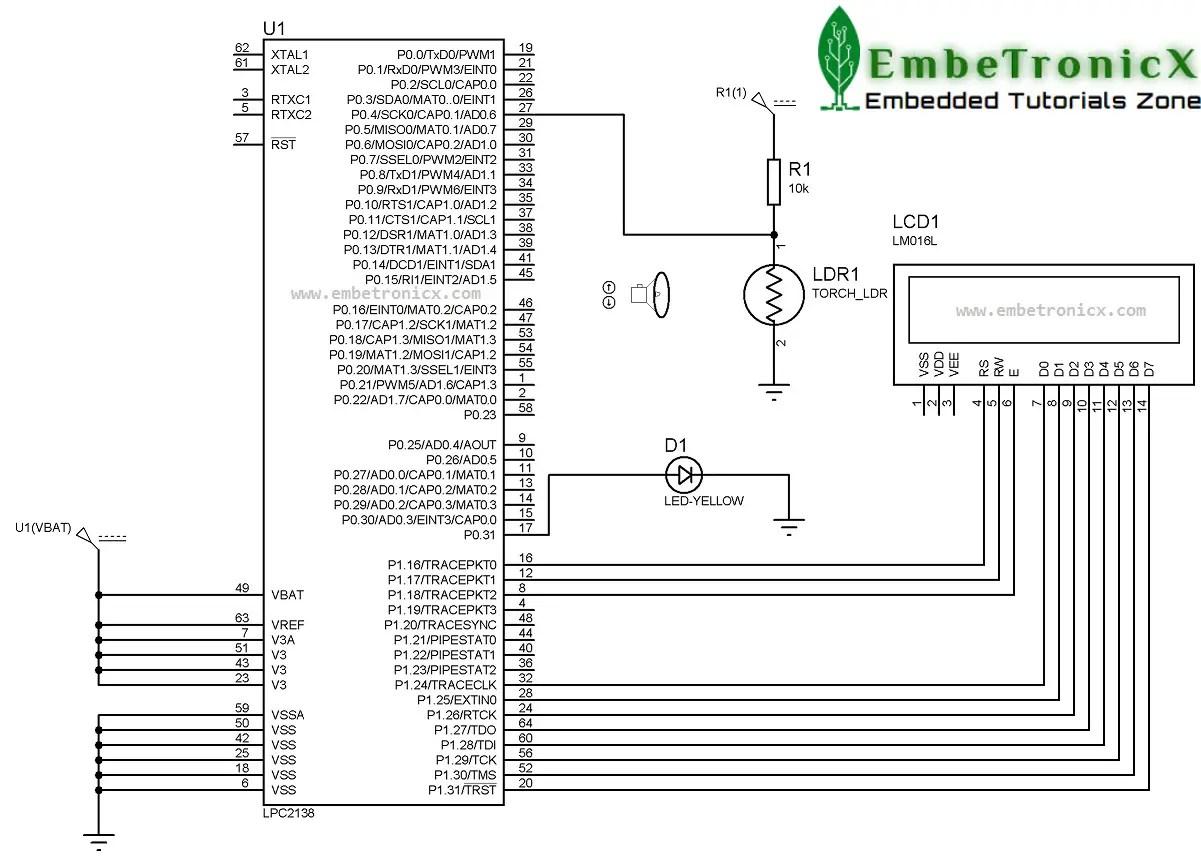 Ldr Sensor Interfacing With Lpc2148 Embetronicx Circuit Diagram