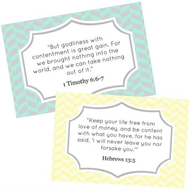 Contentment Bible Verse Cards