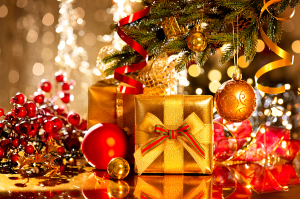 Christmas gift box and baubles. Christmas and New Year celebrati