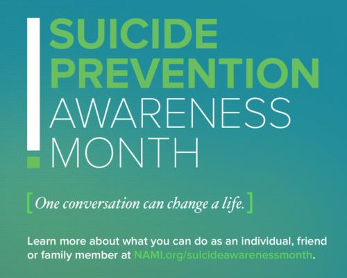 Today September 10th, 2016 is World Suicide Prevention Day Do you know what the warning signs or risk factors are for suicide? How about where to call for help? Please join me today in educating ourselves on suicide and where to get help. We just might help prevent a suicide.