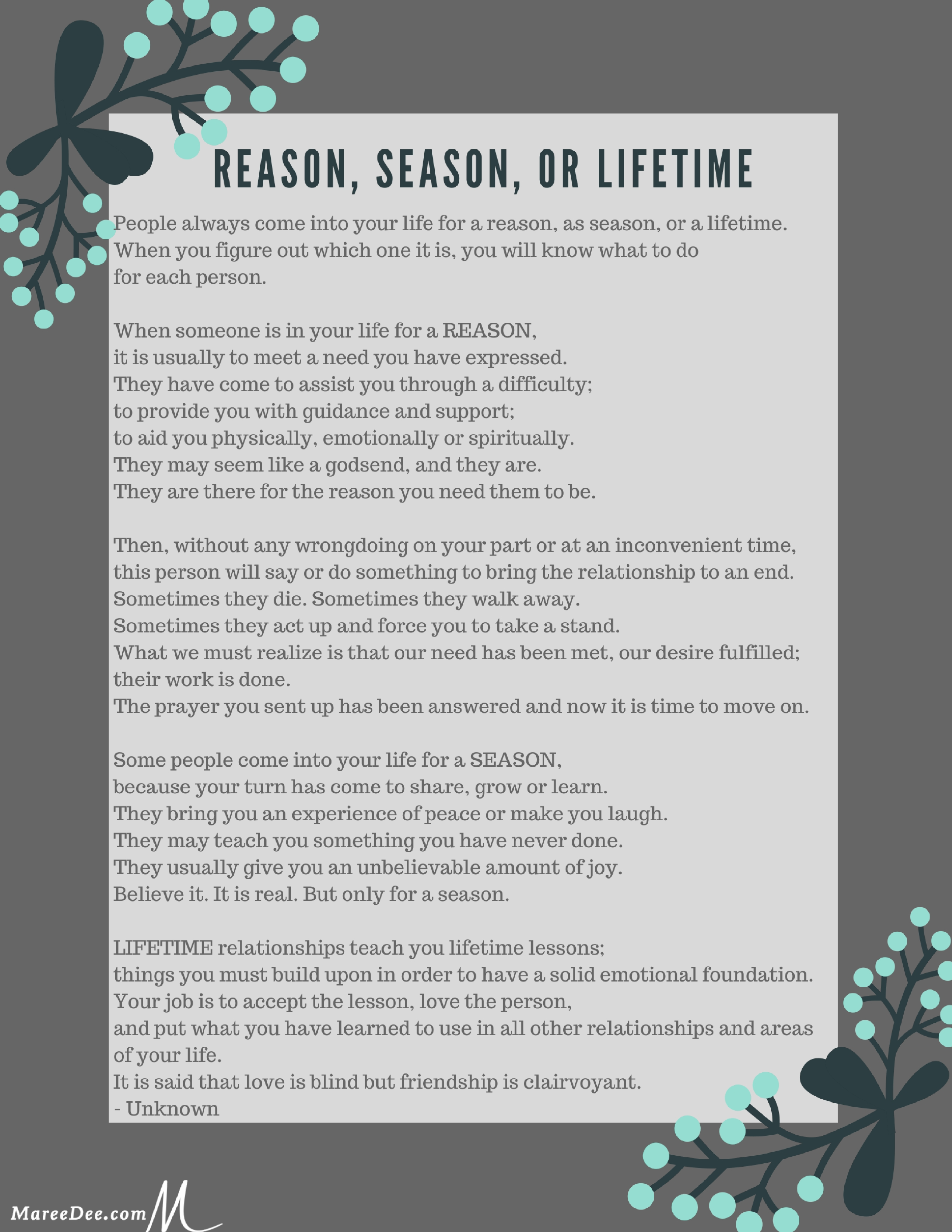 photo relating to Reason Season Lifetime Poem Printable called Why Would I Permit Transfer of a Friendship? Embracing the Surprising