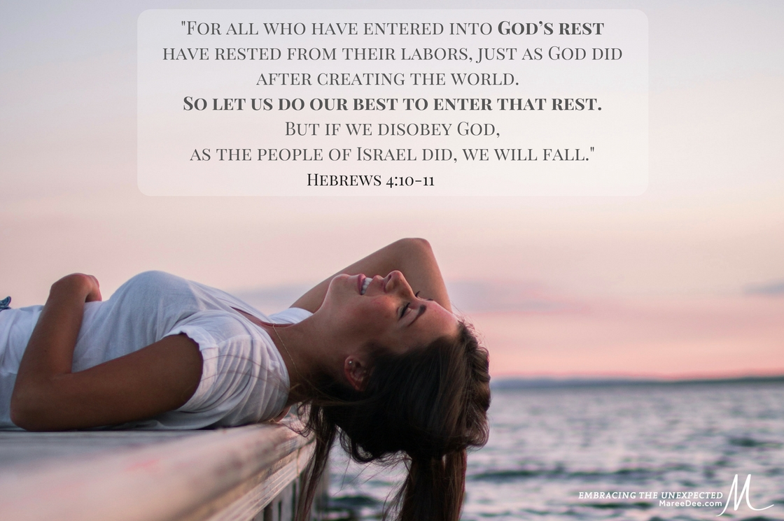 "Will you enter God's Rest? ""For all who have entered into God's rest have rested from their labors, just as God did....- Hebrews 4:10-11"