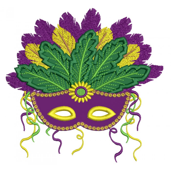 Fancy Mardi Gras Mask With Gorgeous Feathers Applique Machine Embroidery Design Digitized Pattern