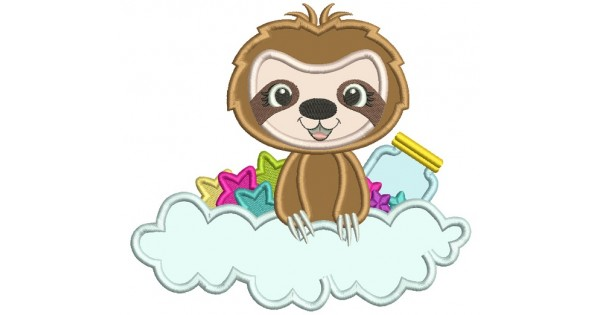 Cute Little Sloth Sitting In The Cloud With Stars And A