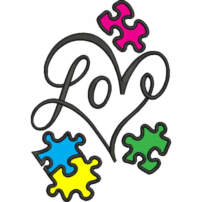 Download Love Heart Autism Awareness Puzzle Applique Machine ...