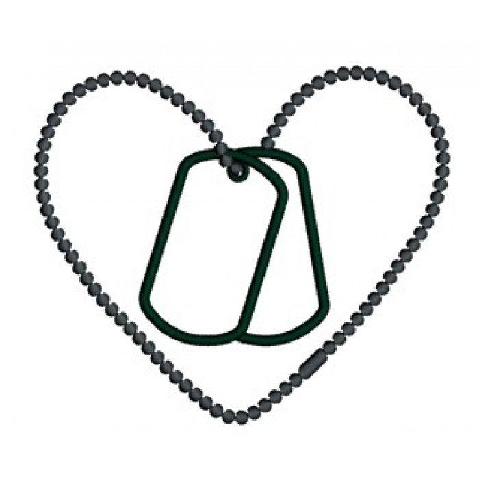 Download Love Military Heart Applique (Dog Tags) Machine Embroidery ...