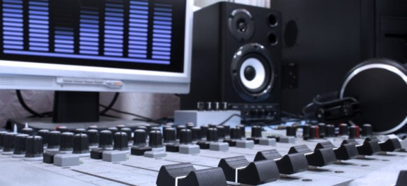 A control panel in a radio studio