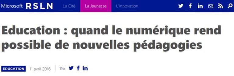 Article dans RSLN mag de Microsoft France