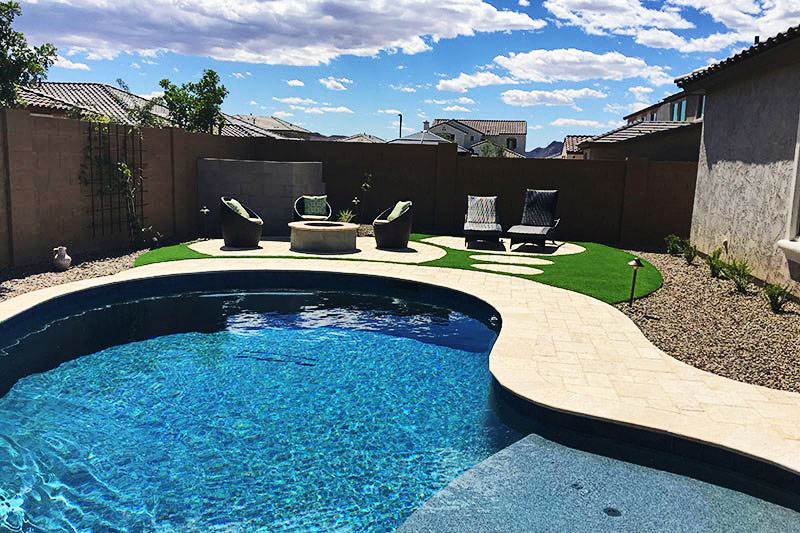 custom pool and turf backyard az