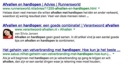 Afvallen en hardlopen zoekresultaat Google