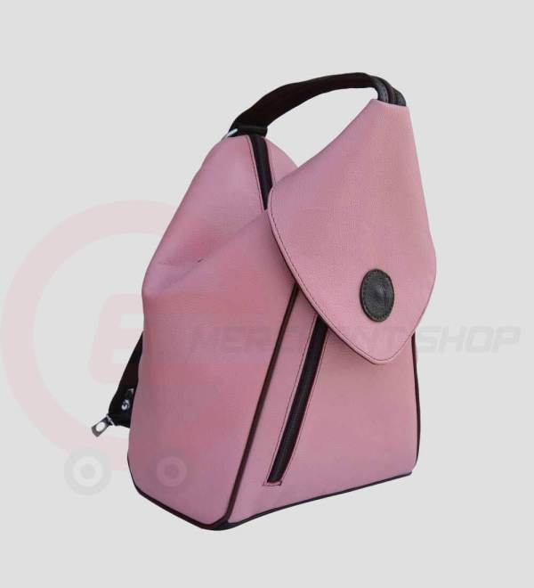 Student-Leather-Backpack-Pink-Side-View