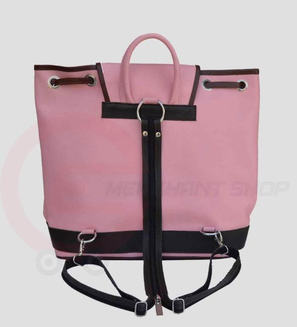 Women-Leather-Backpack-Pink-back
