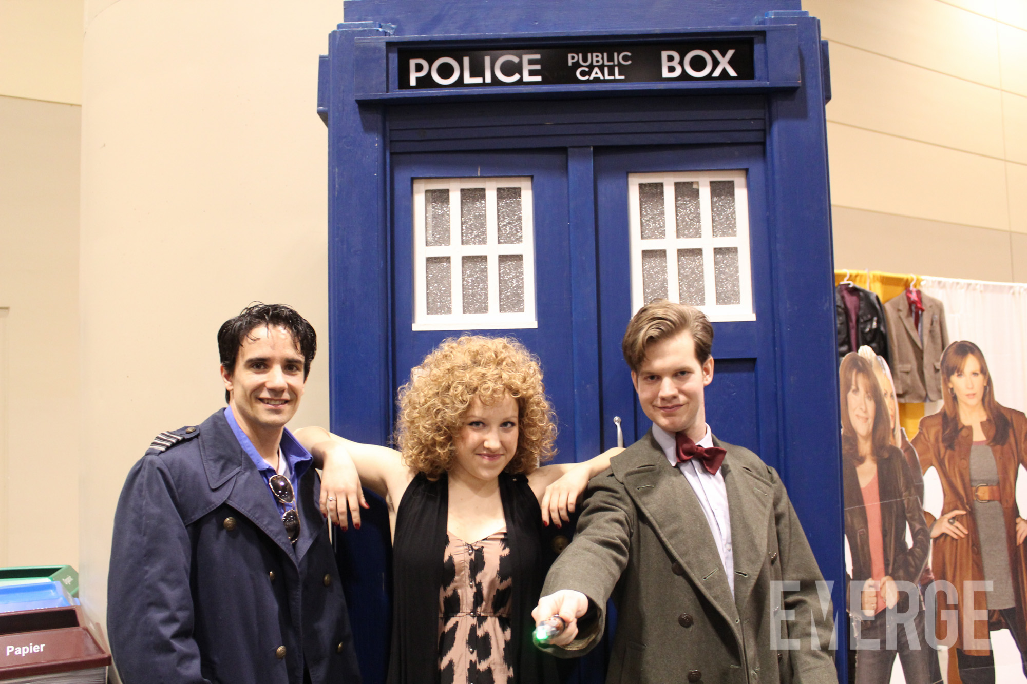 Reunited! Captain Jack Harkness, River Song, and the 11th Doctor pose in front of the TARDIS. Timey wimey!