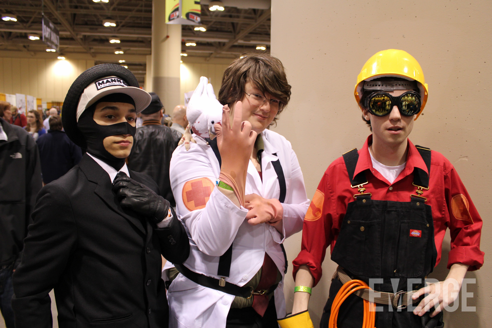 The Spy, Medic and Engineer took a quick break from Team Fortress 2 for a picture