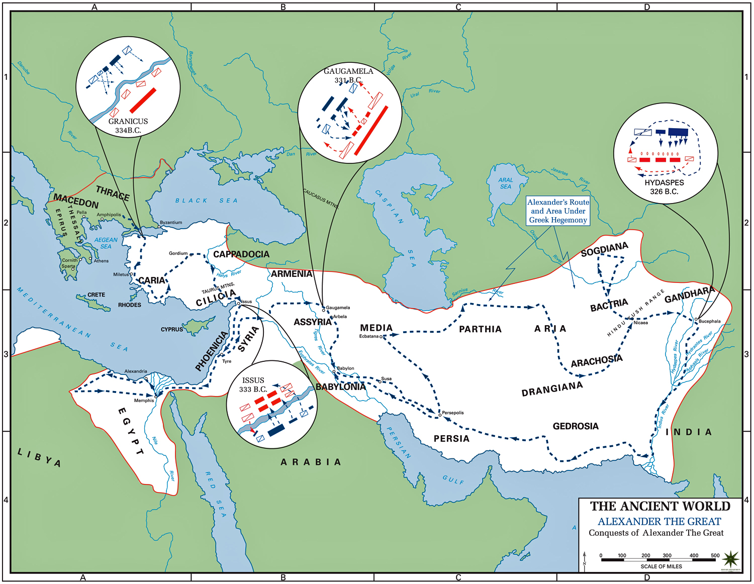 Map of the Conquests of Alexander the Great 336-323 BC