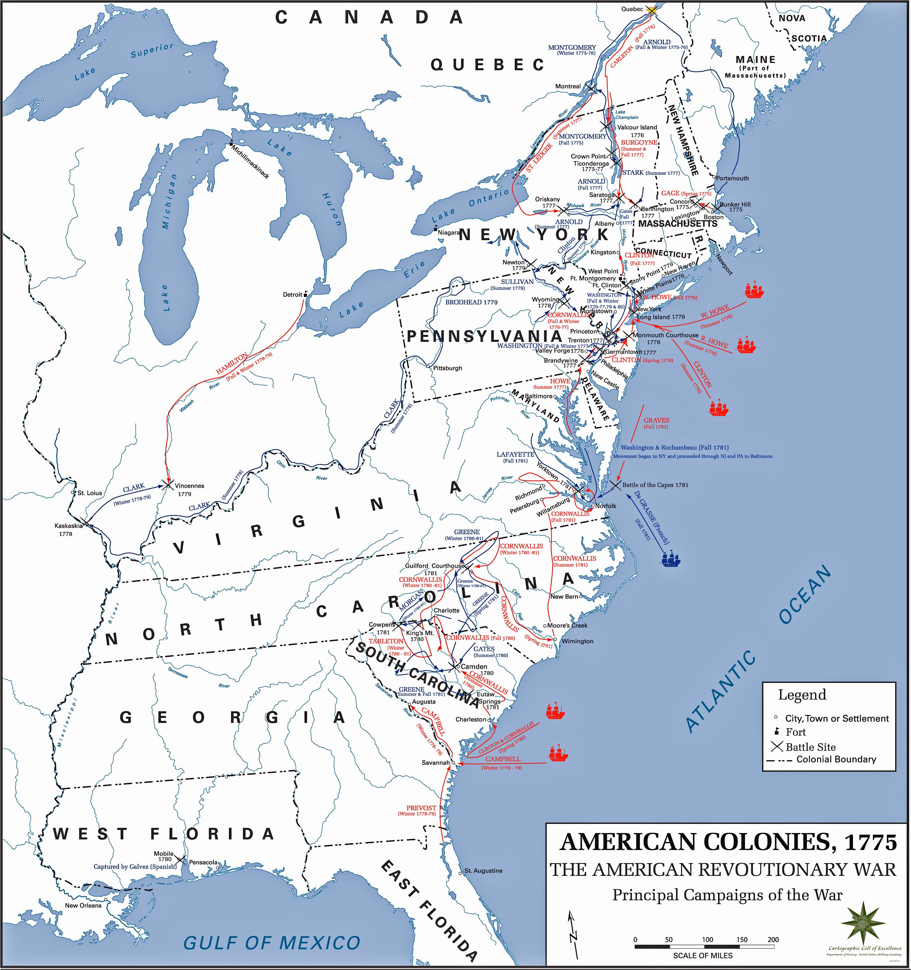 Map Of The American Revolution Usma