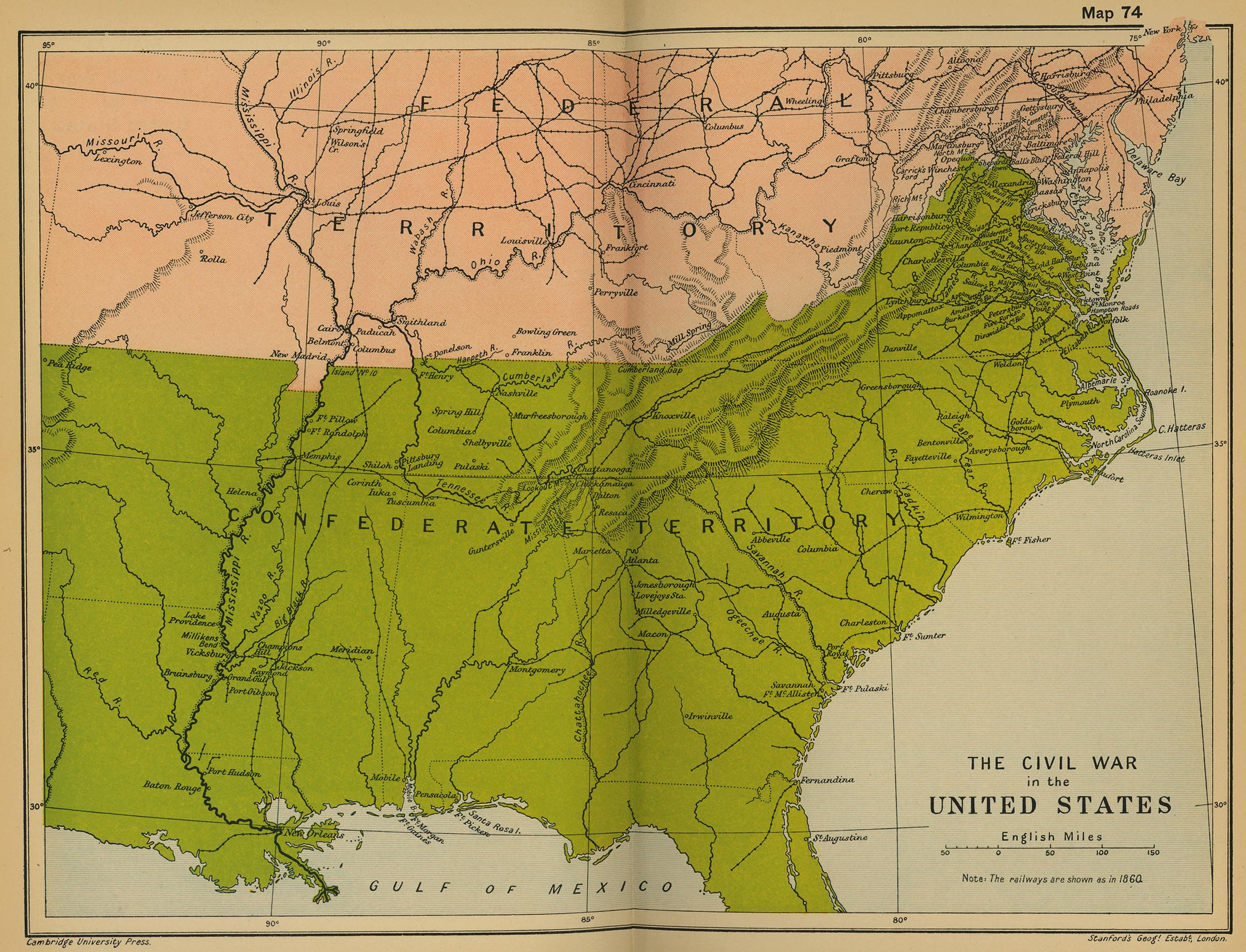 Map Of The Civil War In The United States